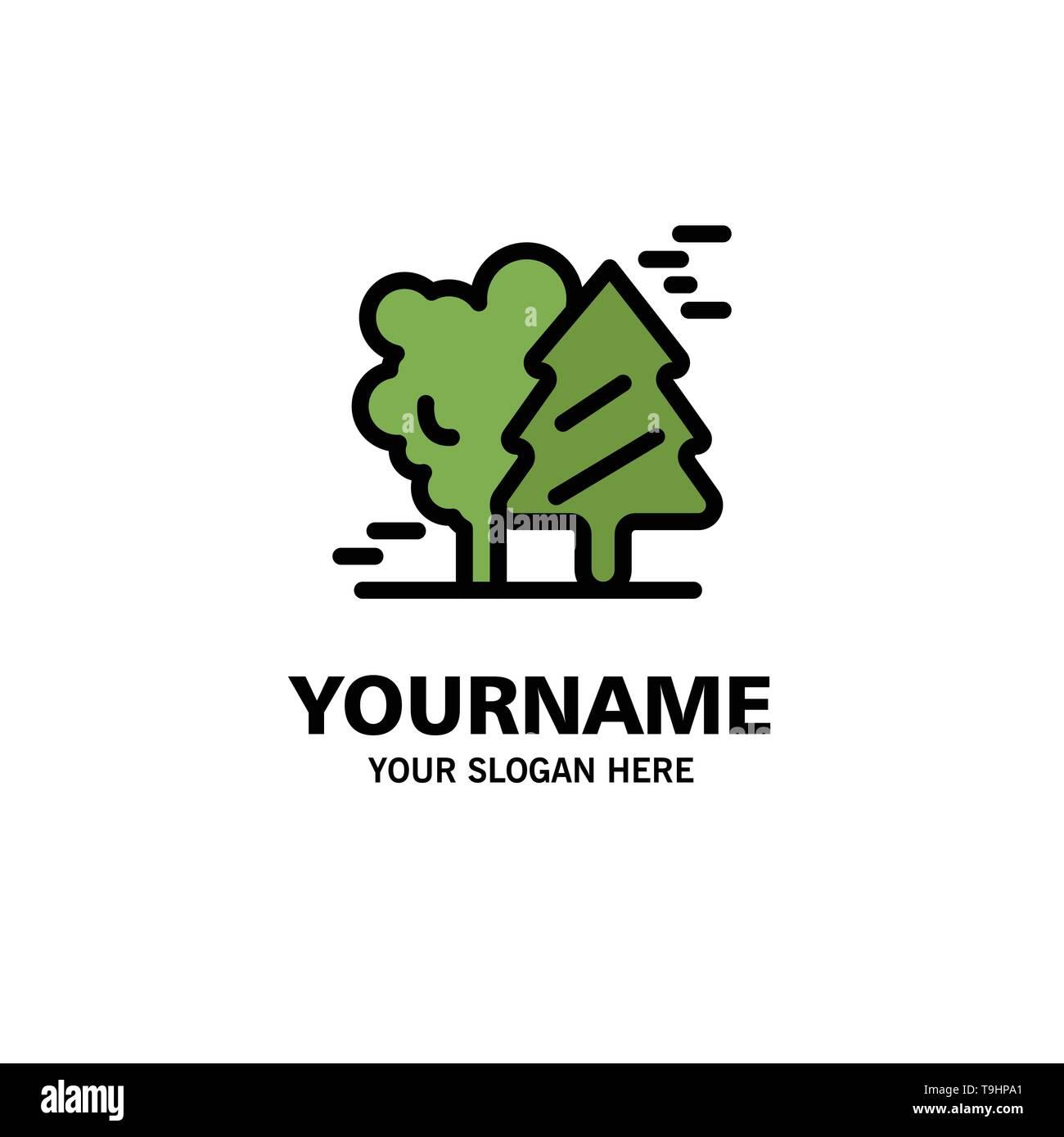 Alpine, Arctic, Canada, Pine Trees, Scandinavia Business Logo Template. Flat Color - Stock Image