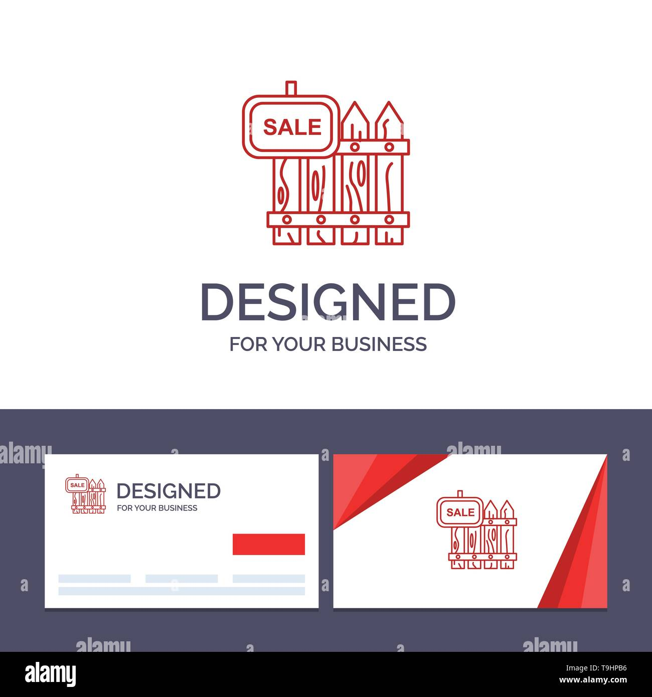 Creative Business Card and Logo template Fence, Wood, Realty, Sale, Garden, House Vector Illustration - Stock Image