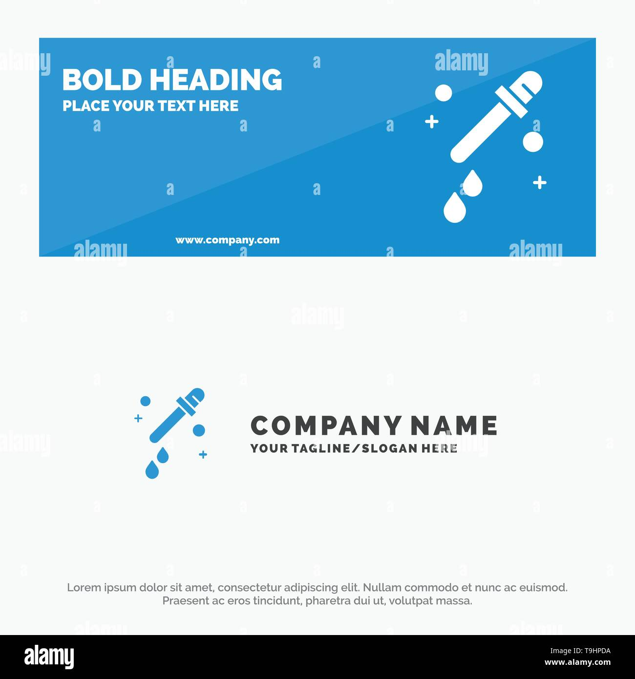 Dropper, Pipette, Science SOlid Icon Website Banner and Business Logo Template - Stock Image