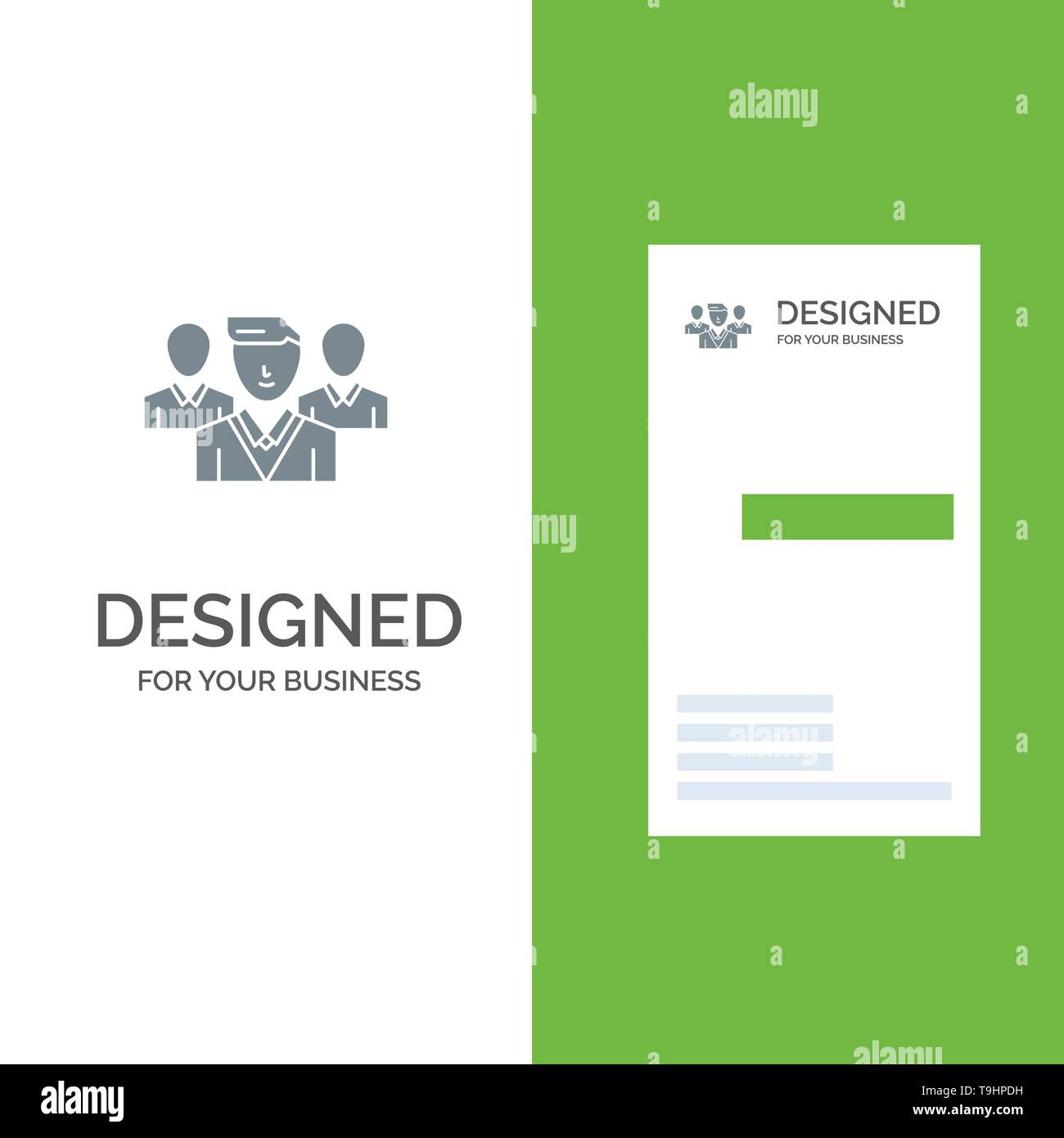 Staff, Security, Friend zone, Gang Grey Logo Design and Business Card Template - Stock Image