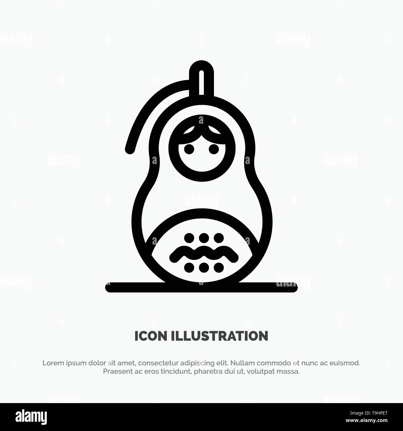 Fraud, Grenade, Matrioshka, Peace, Russia Line Icon Vector - Stock Image