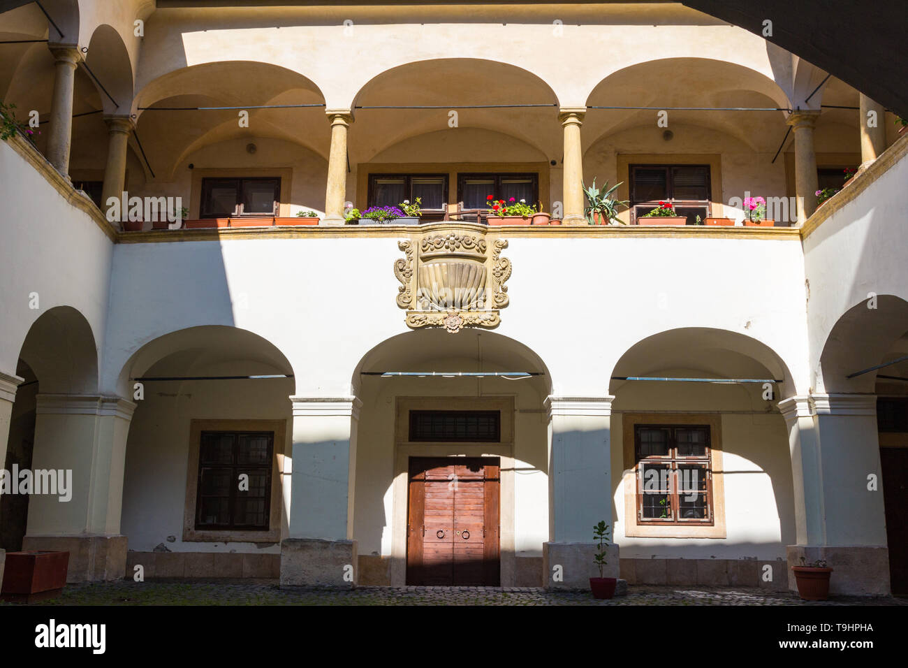 Baroque courtyard of Eggenberg House in Sopron, Hungary - Stock Image