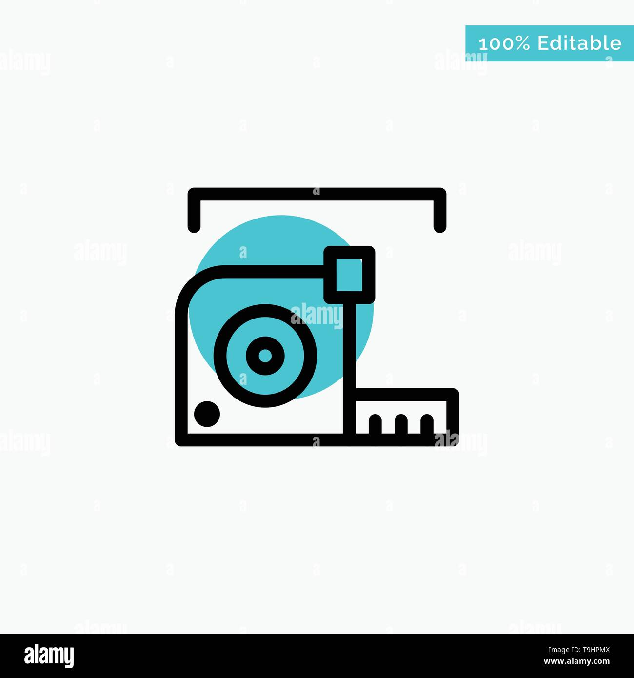 Measure, Measurement, Meter, Roulette, Ruler turquoise highlight circle point Vector icon - Stock Image