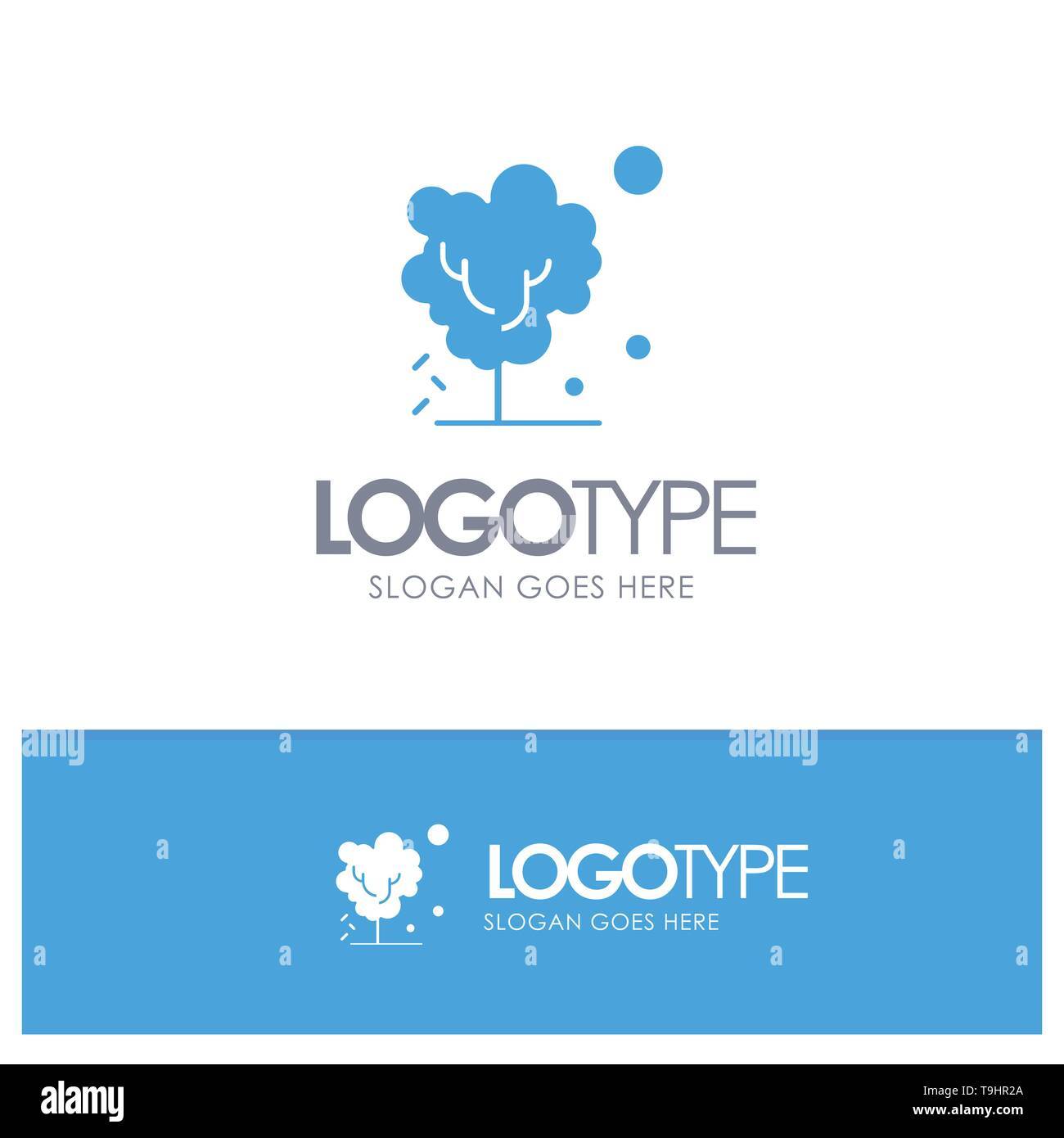 Dry, Global, Soil, Tree, Warming Blue Solid Logo with place for tagline - Stock Image