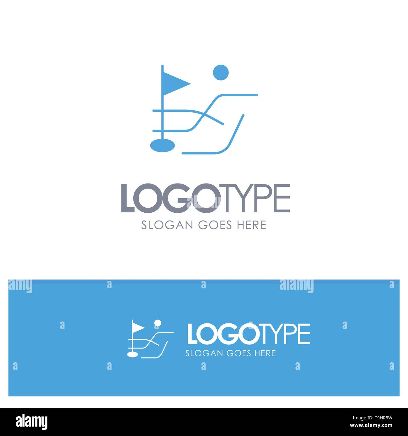 Ball, Field, Golf Sport Blue Solid Logo with place for tagline - Stock Image