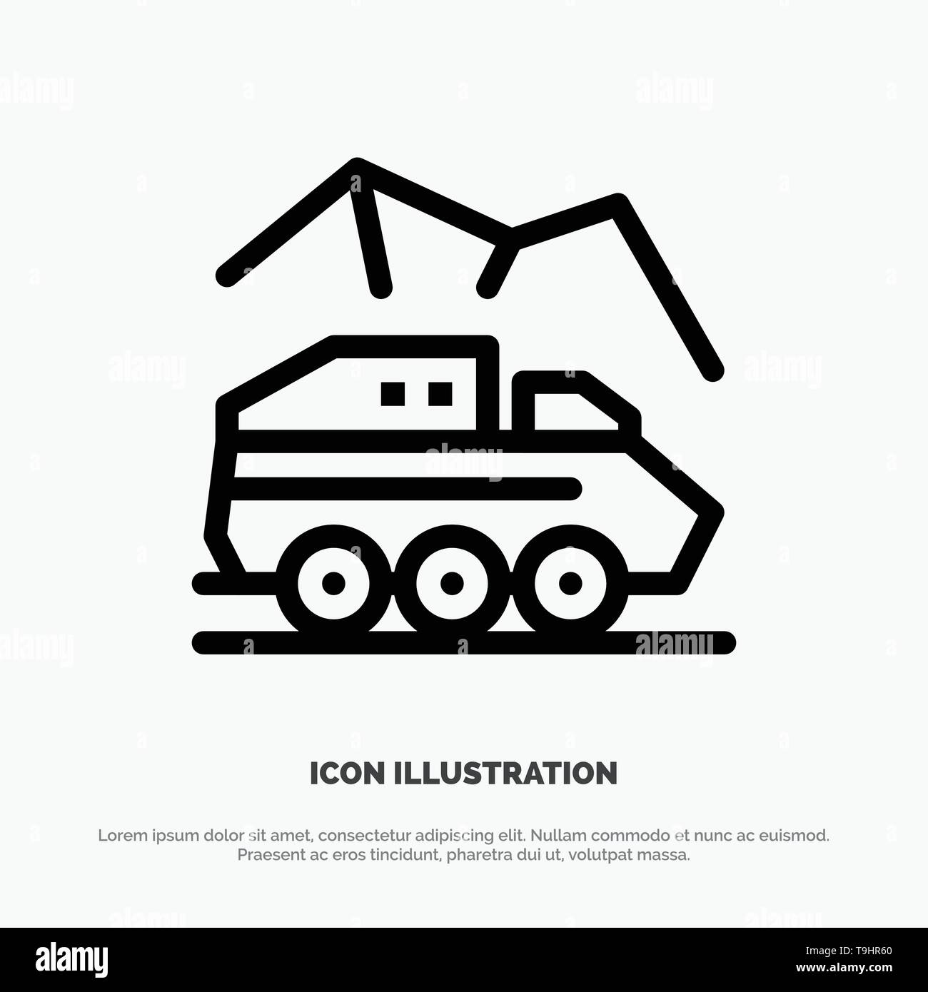Exploration, Planet, Rover, Surface, Transport Line Icon Vector - Stock Image