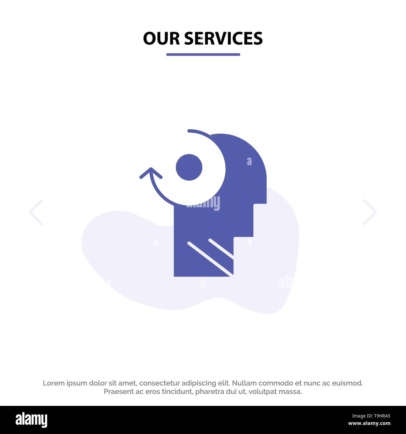 Our Services Clear, Mind, Your, Head Solid Glyph Icon Web card Template - Stock Image