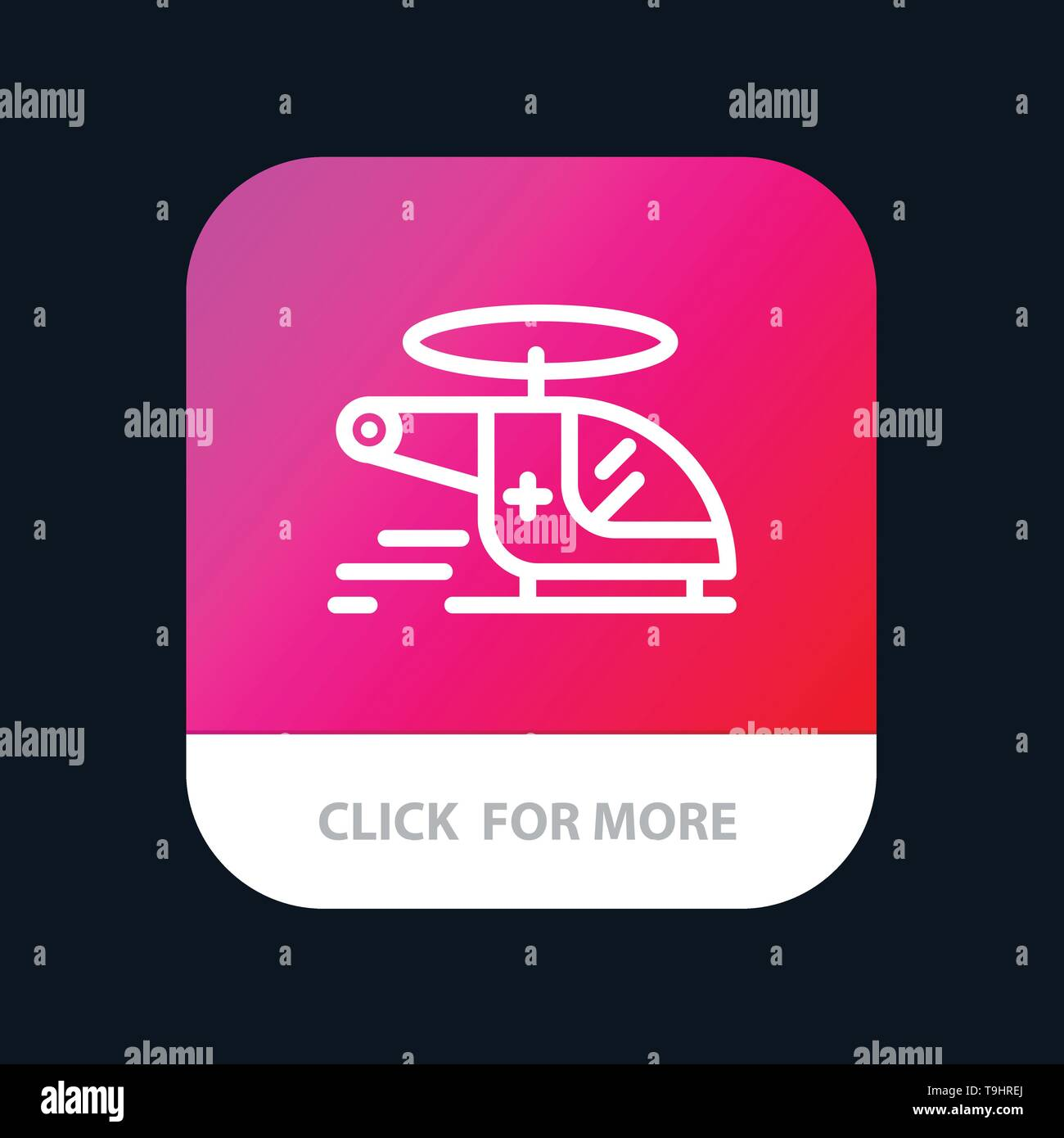 Helicopter, Chopper, Medical, Ambulance, Air Mobile App Button. Android and IOS Line Version - Stock Image