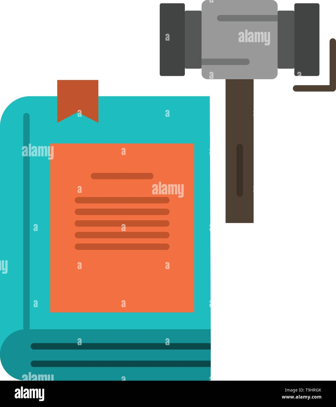 Law, Action, Auction, Court, Gavel, Hammer, Legal  Flat Color Icon. Vector icon banner Template - Stock Image