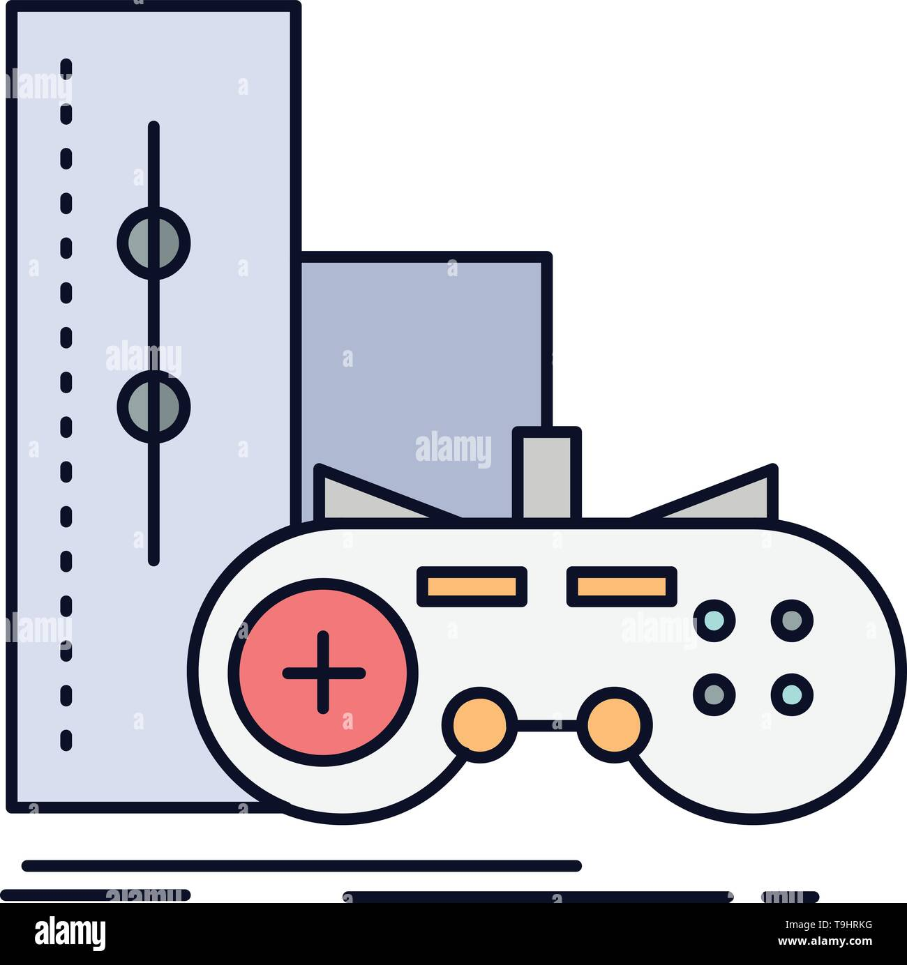 game, gamepad, joystick, play, playstation Flat Color Icon Vector - Stock Image