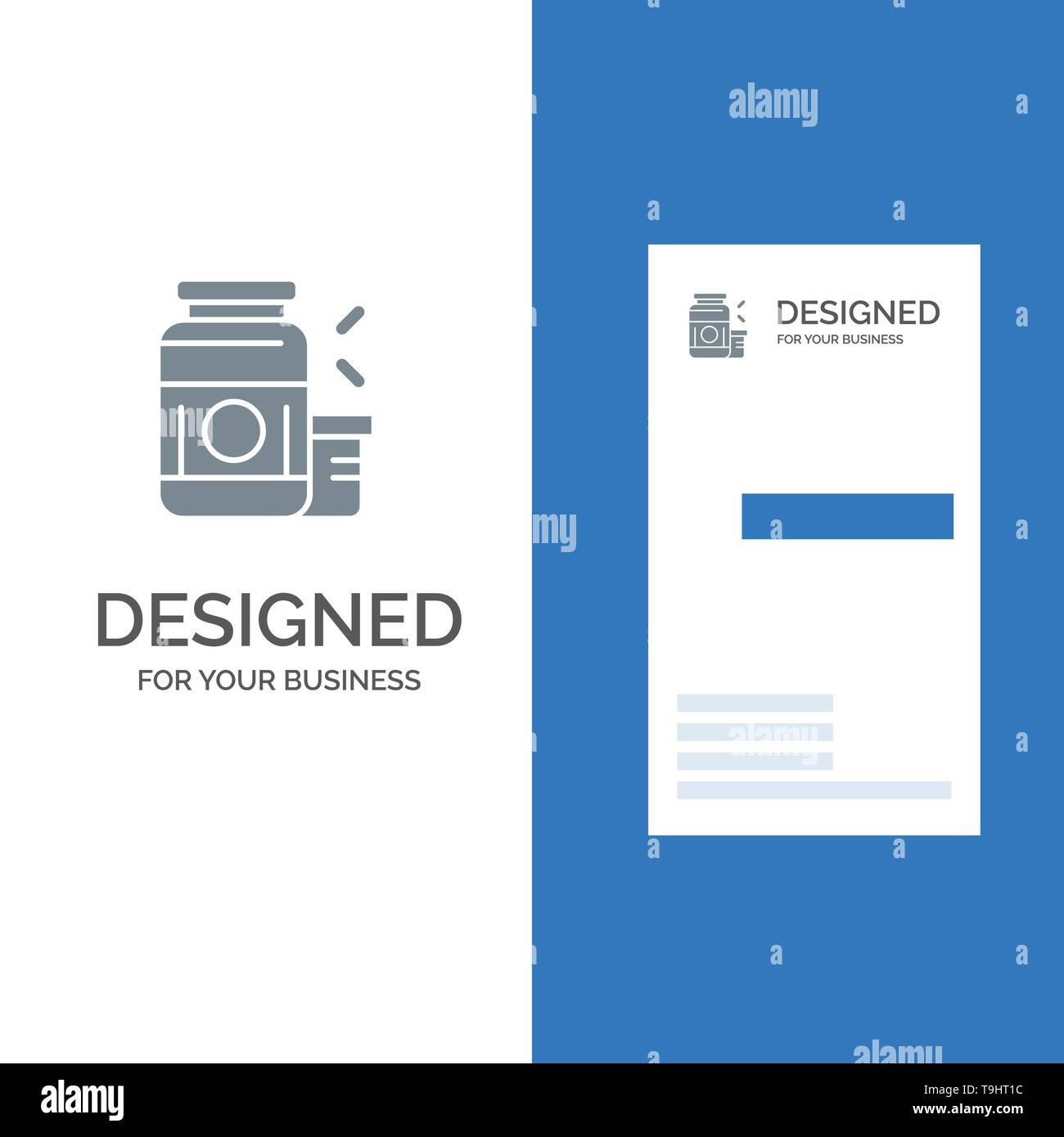 Bodybuilding, Gainer, Protein, Sports, Supplement Grey Logo Design and Business Card Template - Stock Image