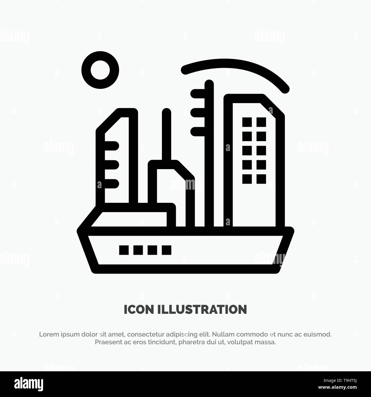 City, Colonization, Colony, Dome, Expansion Line Icon Vector Stock Vector
