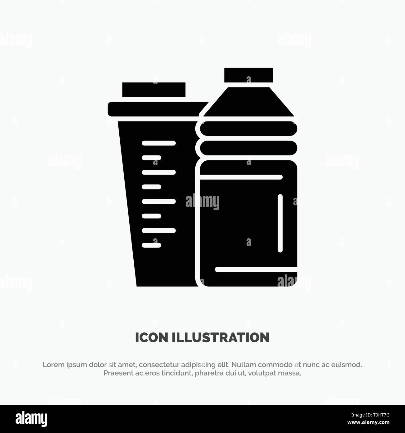 Bottle, Drink, Energy, Shaker, Sport solid Glyph Icon vector - Stock Image