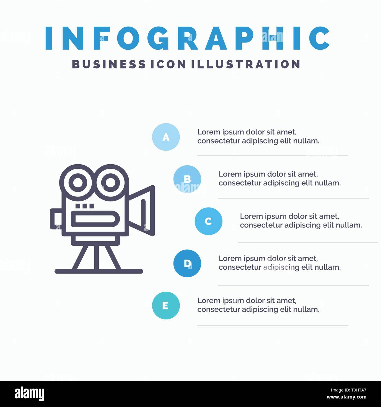 Camera, Capture, Film, Movie, Professional Line icon with 5 steps presentation infographics Background - Stock Vector