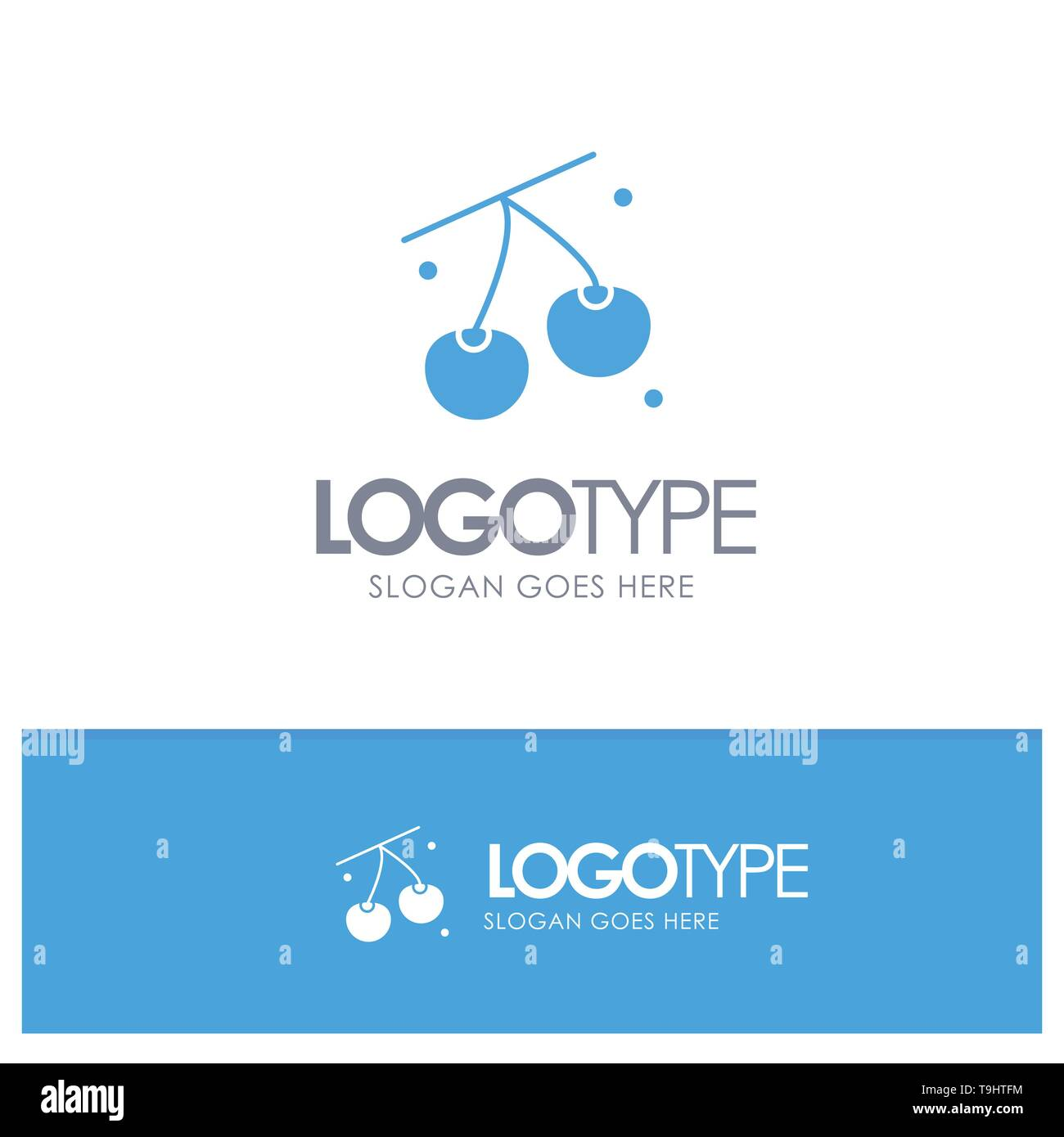 Cherry, Fruit, Healthy, Easter Blue Solid Logo with place for tagline - Stock Image