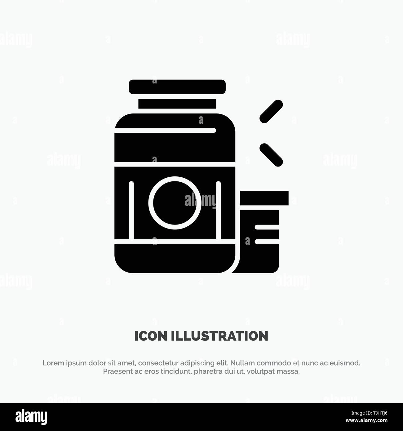 Bodybuilding, Gainer, Protein, Sports, Supplement solid Glyph Icon vector - Stock Image