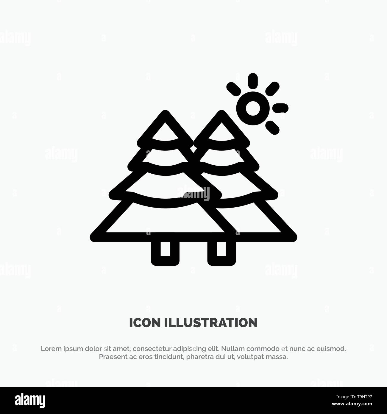 Fir, Forest, Nature, Trees Vector Line Icon - Stock Image