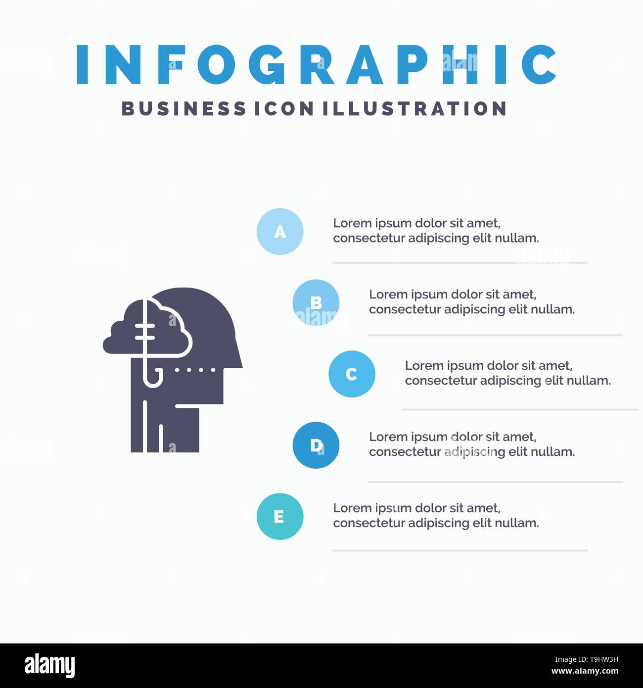 Borrowing Ideas, Addiction, Catch, Habit, Human Solid Icon Infographics 5 Steps Presentation Background - Stock Image