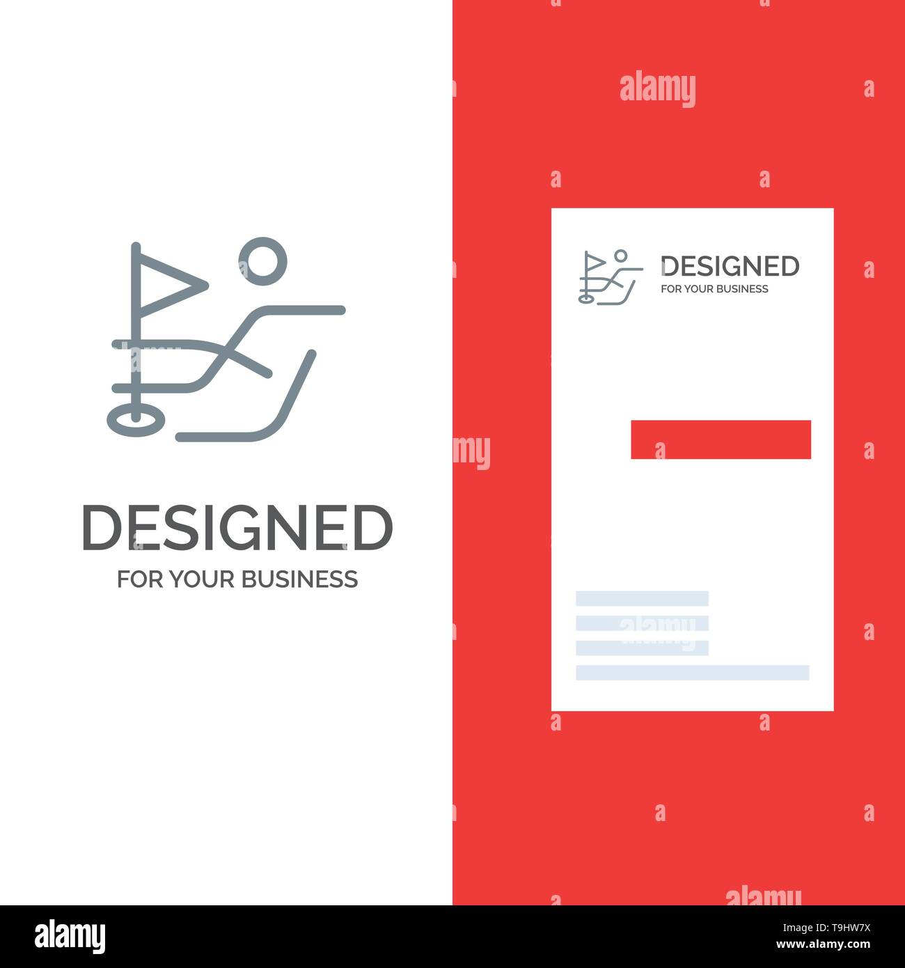 Ball, Field, Golf Sport Grey Logo Design and Business Card Template - Stock Image