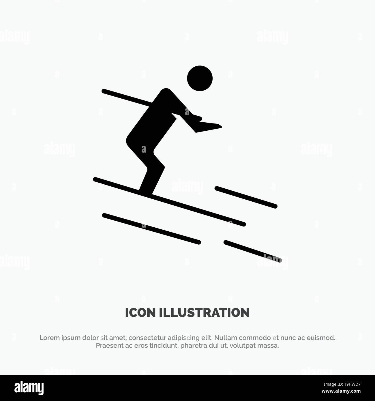 Activity, Ski, Skiing, Sportsman solid Glyph Icon vector - Stock Image