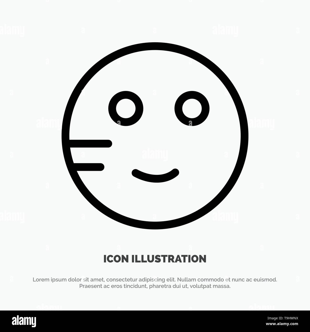 Embarrassed, Emojis, School, Study Line Icon Vector Stock Vector Art