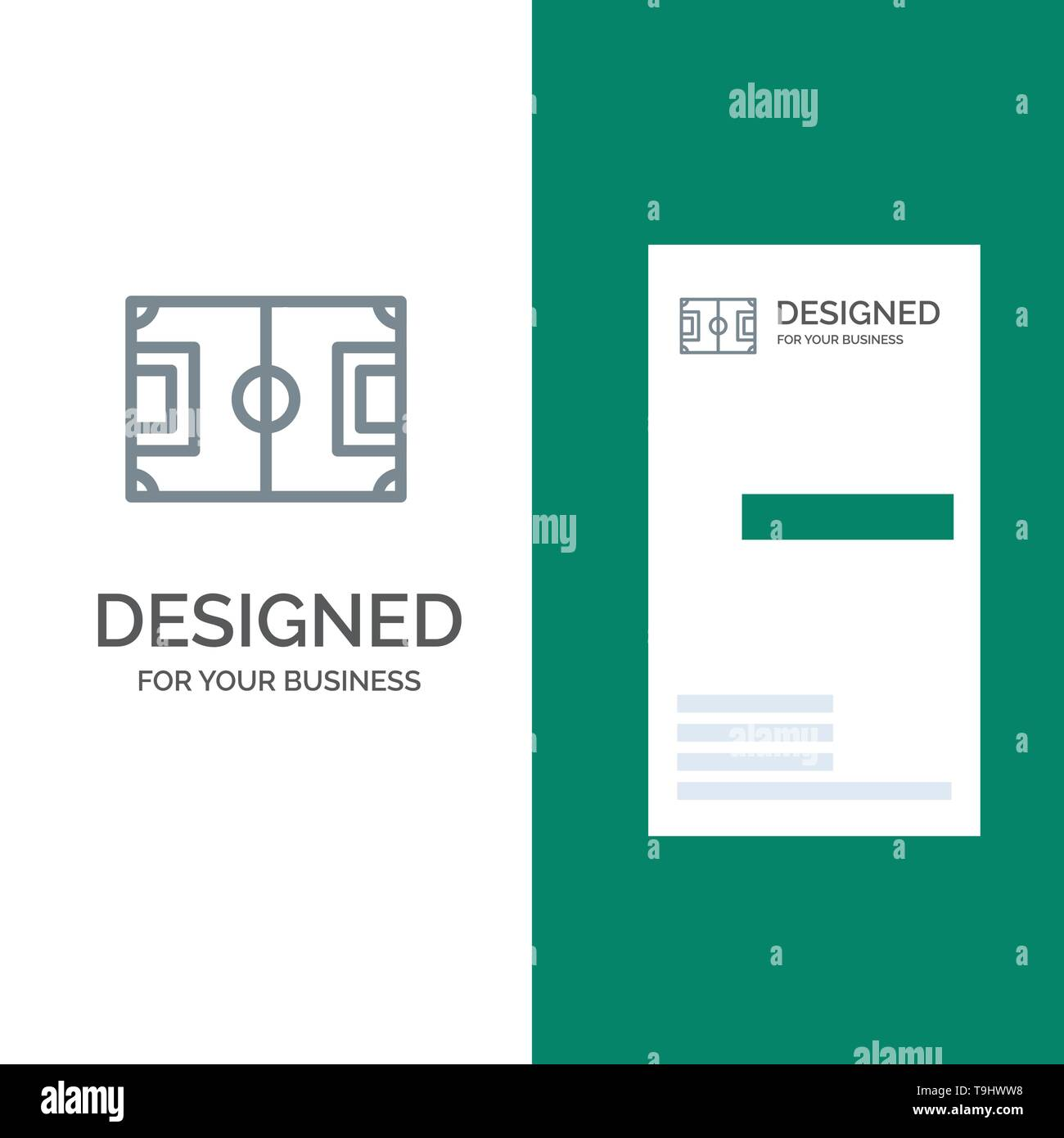 Field, Football, Game, Pitch, Soccer Grey Logo Design and Business Card Template - Stock Image