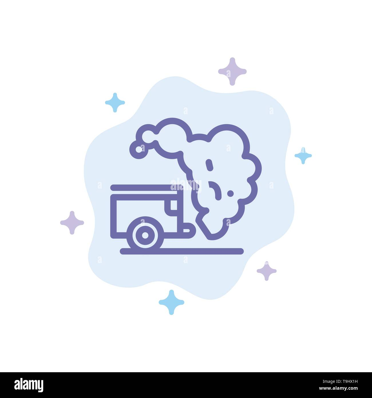 Dump, Environment, Garbage, Pollution Blue Icon on Abstract Cloud Background - Stock Image