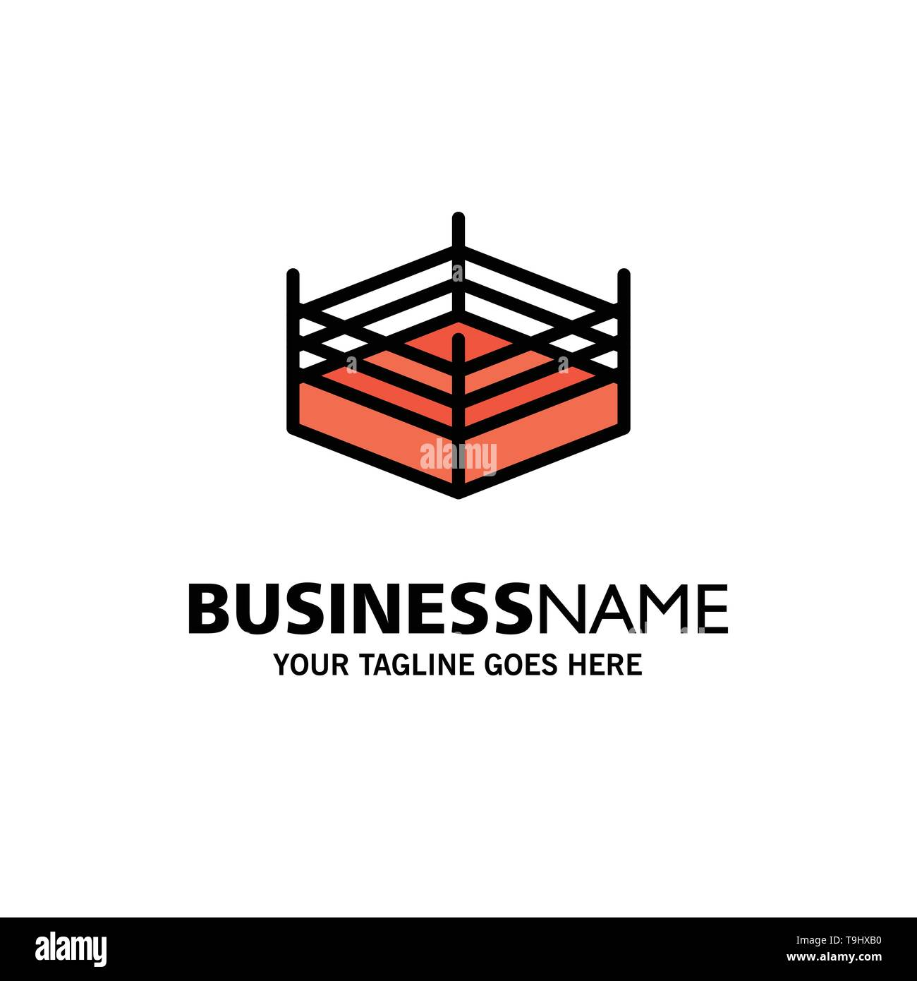 Boxing, Ring, Wrestling Business Logo Template. Flat Color - Stock Image