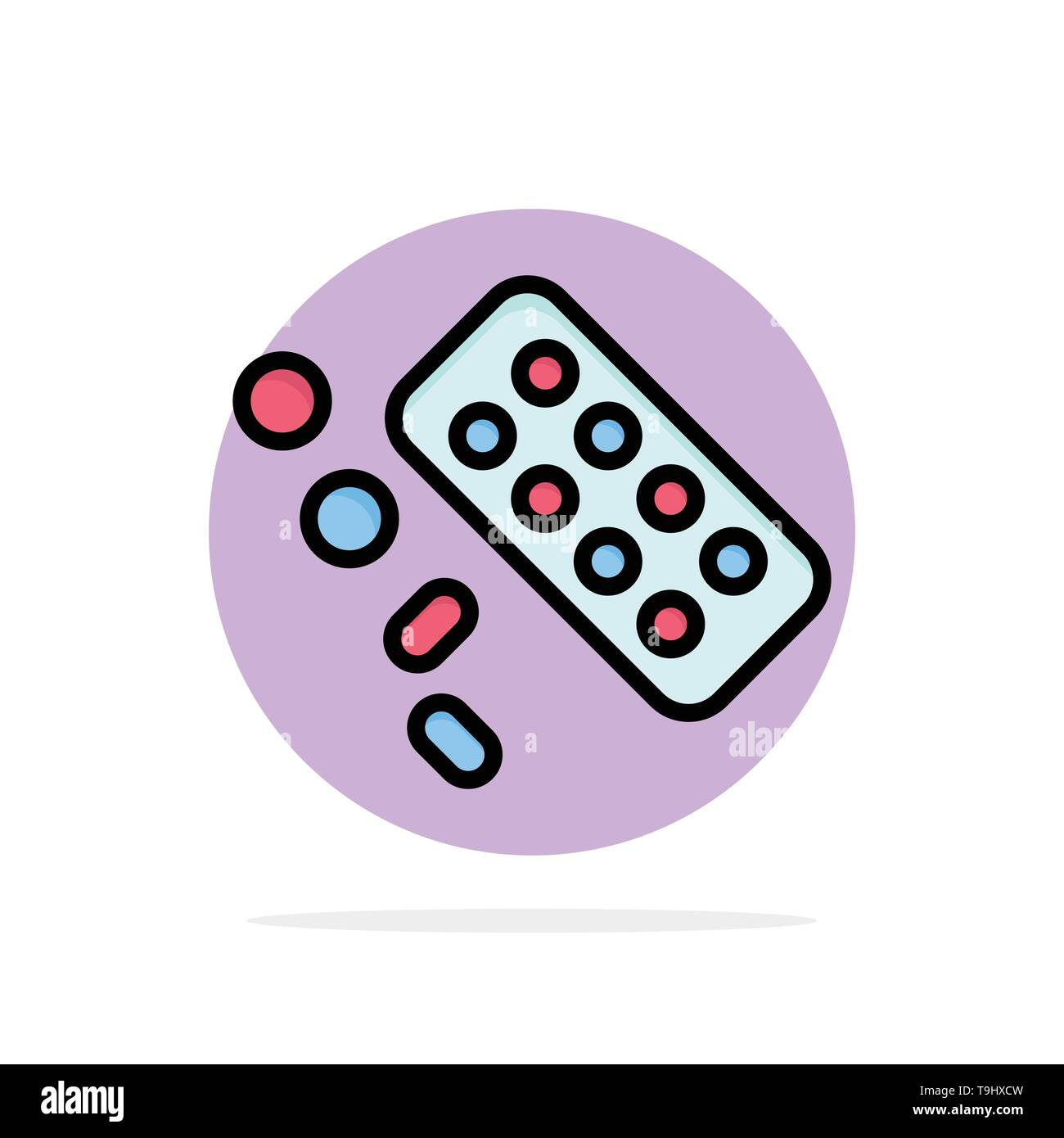 Medicine, Pill, Tablet, Treatment Abstract Circle Background Flat color Icon - Stock Image