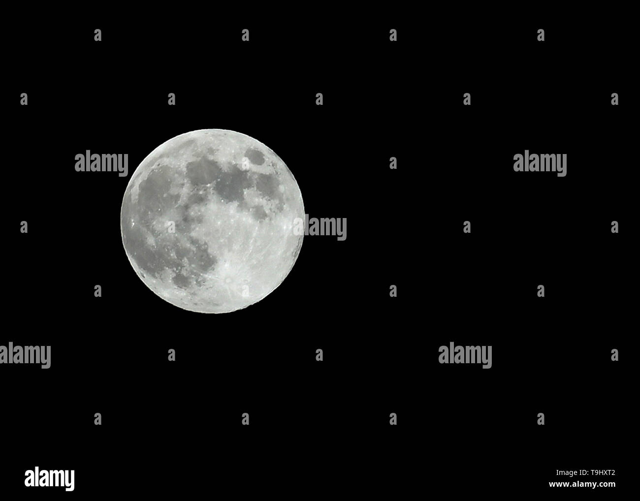 Damascus, Syria  18th May, 2019  A full moon appears in the