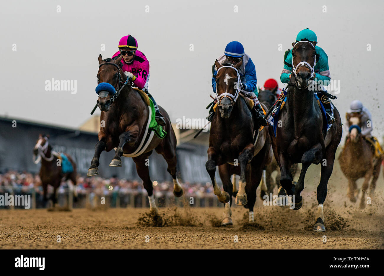 Baltimore, Maryland, USA. 18th May, 2019. MAY 18: Anothertwistafate with Jose Ortiz up jumps the tram tracks as he races next to Market King with Javier Castellano and Warriors Charge in the Preakness Stakes at Pimlico Racecourse in Baltimore, Maryland on May 18, 2019. Evers/Eclipse Sportswire/CSM/Alamy Live News - Stock Image