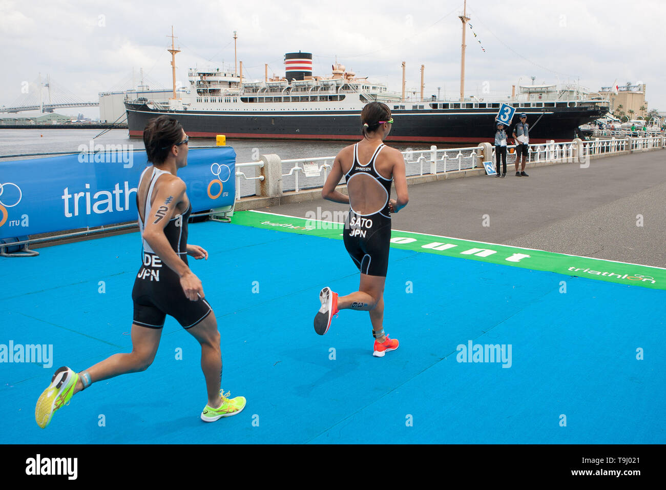 Yokohama, Japan. 18th May, 2019. 2019 ITU World Triathlon, World Paratriathlon Yokohama at Yamashita Park and Minato Mirai, Yokohama. Sato, Ide (Photos by Michael Steinebach/AFLO) Credit: Aflo Co. Ltd./Alamy Live News Stock Photo