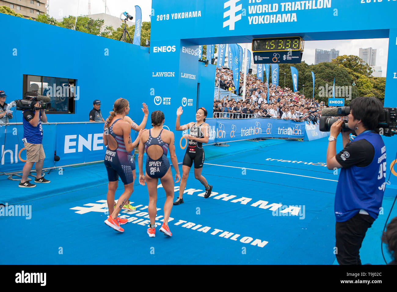 Yokohama, Japan. 18th May, 2019. 2019 ITU World Triathlon, World Paratriathlon Yokohama at Yamashita Park and Minato Mirai, Yokohama. Rappaport, Spivey, Takashashi (Photos by Michael Steinebach/AFLO) Credit: Aflo Co. Ltd./Alamy Live News Stock Photo