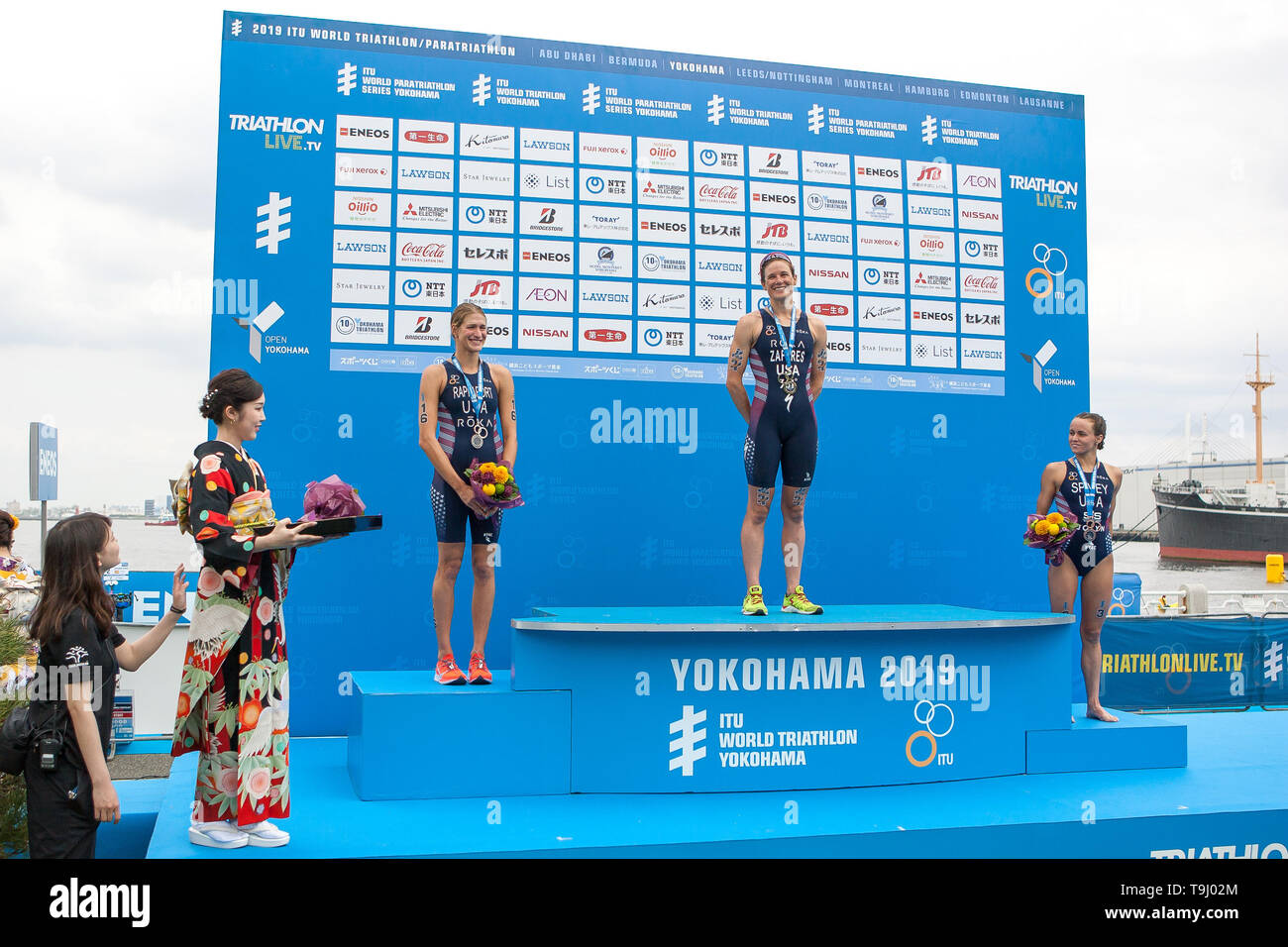 Yokohama, Japan. 18th May, 2019. 2019 ITU World Triathlon, World Paratriathlon Yokohama at Yamashita Park and Minato Mirai, Yokohama. Zaferes, Rappaport, Spivey (Photos by Michael Steinebach/AFLO) Credit: Aflo Co. Ltd./Alamy Live News Stock Photo