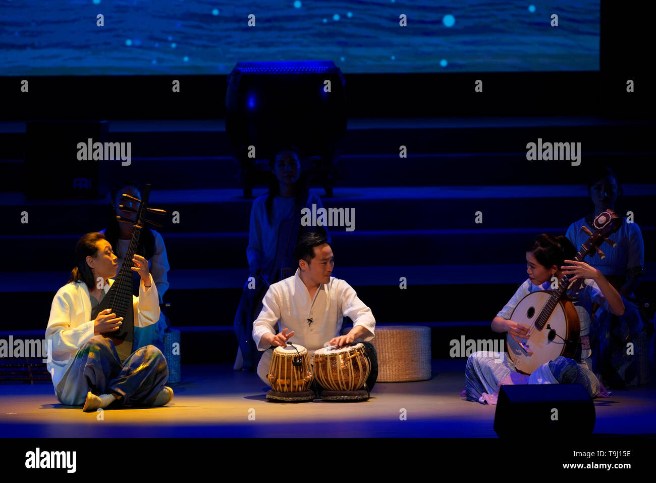 Beijing, China. 18th May, 2019. Actors perform at Peking University in Beijing, capital of China, May 18, 2019. China is holding a rich variety of exhibitions and activities on the culture of Asian countries and regions as well as exchanges among them. Credit: Shen Bohan/Xinhua/Alamy Live News - Stock Image