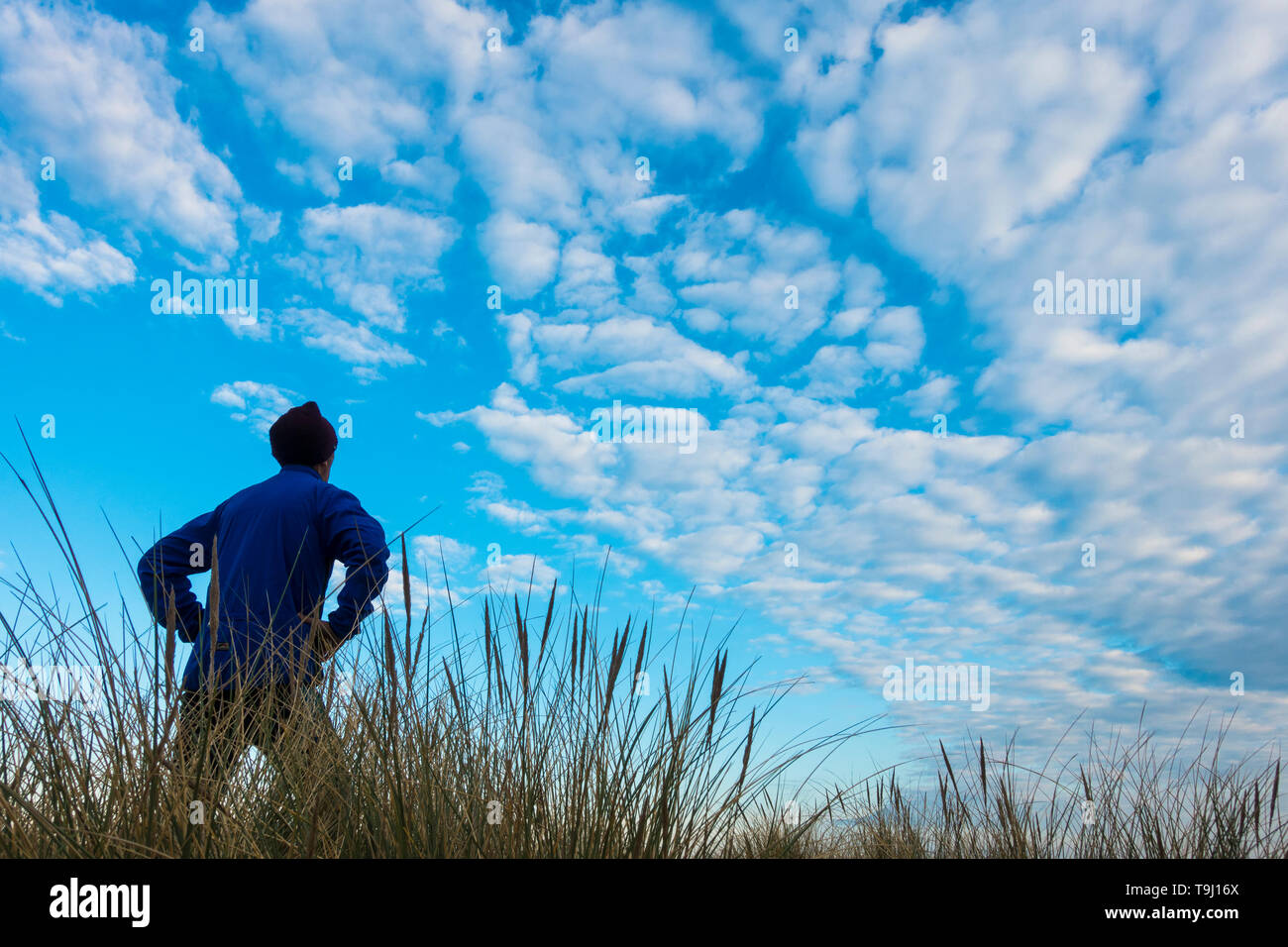 Seaton Carew, County Durham, UK. 19th May 2019. UK weather: a jogger looks out over the dunes as early morning sun burns off a thin layer of cloud on a glorious Sunday morning at Seaton Carew on the north east coast of England. Credit: Alan Dawson/Alamy Live News Stock Photo