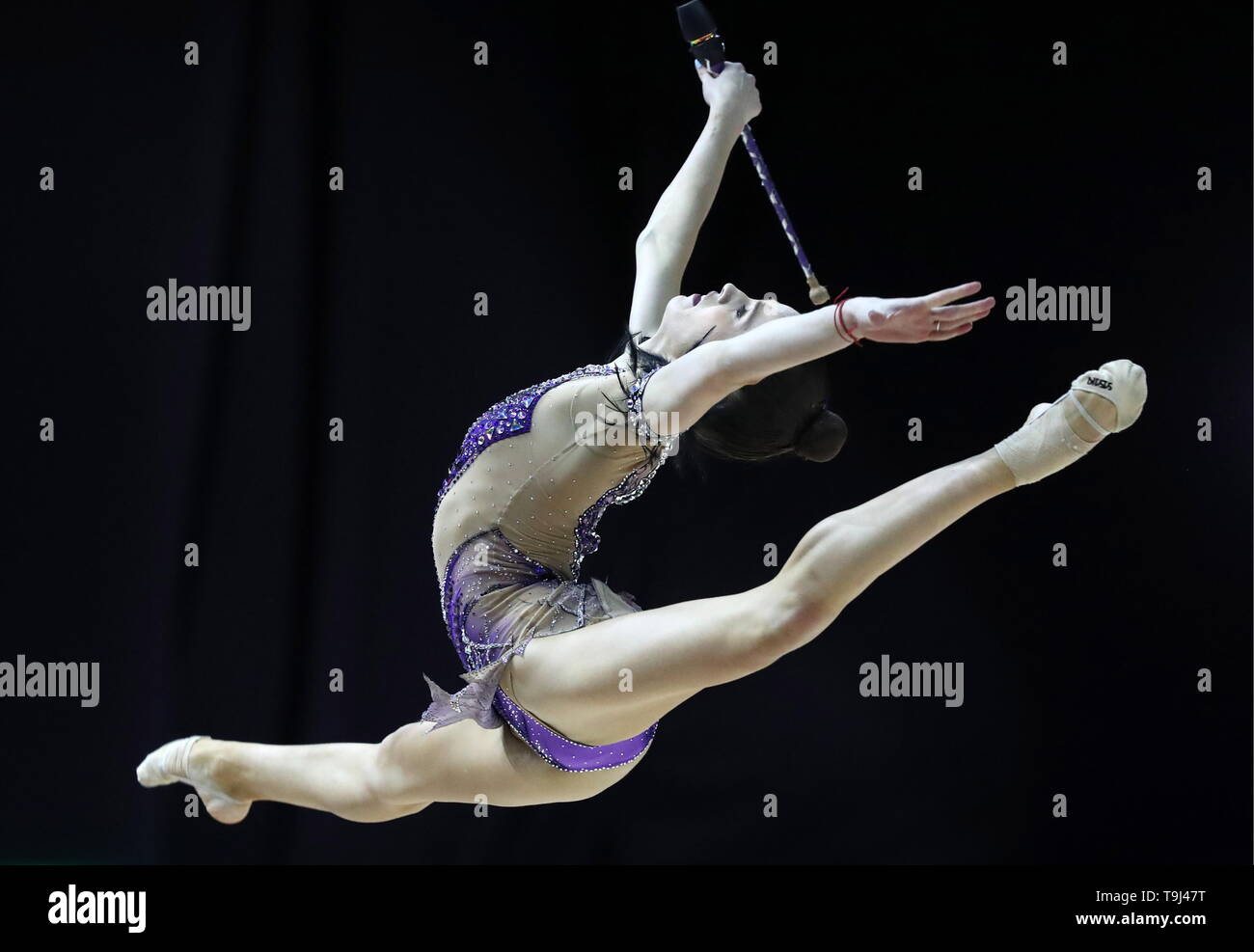 Baku, Azerbaijan. 19th May, 2019. BAKU, AZERBAIJAN - MAY 19, 2019: Israel's Nicol Zelikman performs her clubs routine during the individuals finals at the 2019 European Championships in Rhythmic Gymnastics. Sergei Savostyanov/TASS Credit: ITAR-TASS News Agency/Alamy Live News - Stock Image