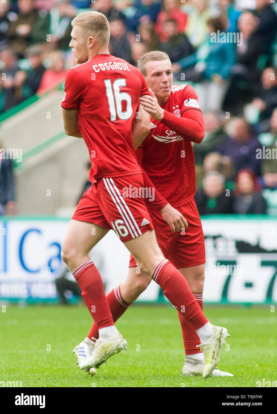 Edinburgh, Scotland, UK. 19th May 2019. Sam Cosgrove of Aberdeen  celebrates scoring his team's first goal during the Ladbrokes Premiership match between Hibernian and Aberdeen at Easter Road on May 19 2019 in Edinbugh, UK. Editorial use only, licence required for commercial use. No use in Betting, games or a single club/league/player publication. Credit: Scottish Borders Media/Alamy Live News Stock Photo