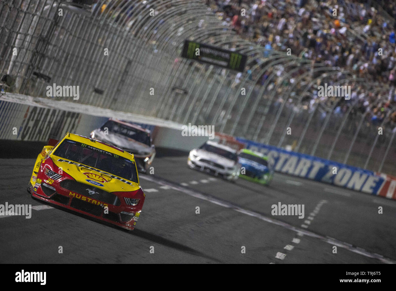 Concord, North Carolina, USA. 19th May, 2019. Joey Logano (22) races off turn four during the Monster Energy All-Star Race at Charlotte Motor Speedway in Concord, North Carolina. (Credit Image: © Stephen A. Arce/ASP) Credit: ZUMA Press, Inc./Alamy Live News - Stock Image