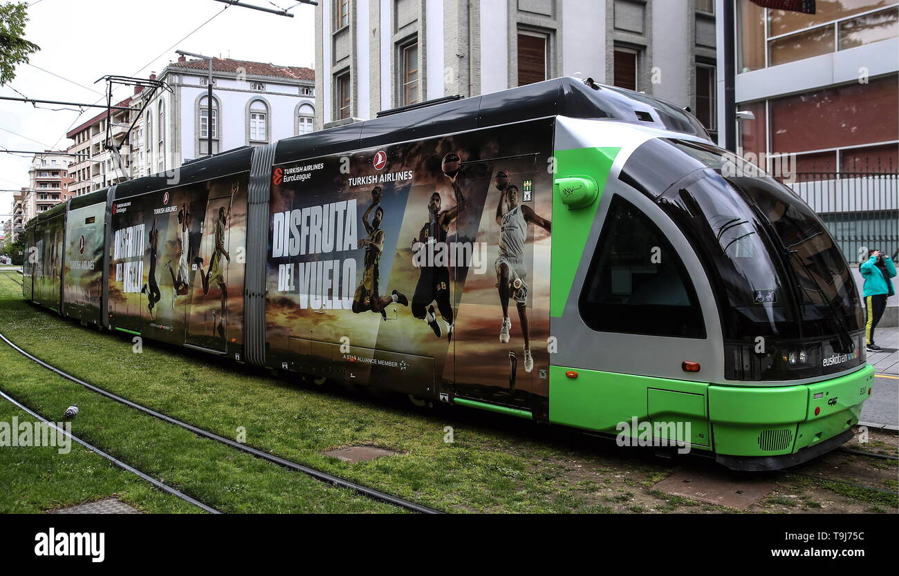 VITORIA-GASTEIZ, SPAIN – MAY 19, 2019: A tram promoting the 2019 Basketball Euroleague Final Four. Valery Sharifulin/TASS - Stock Image
