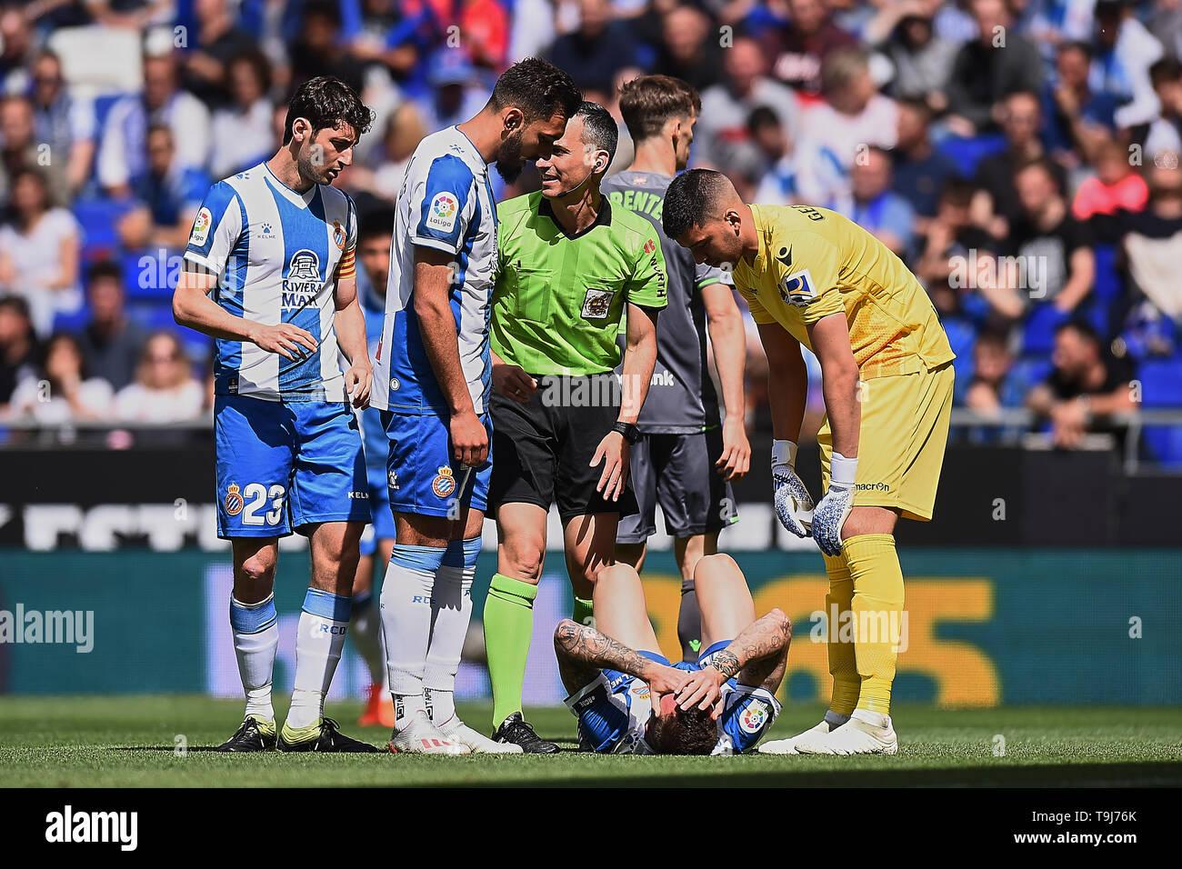 Sergi Darder of RCD Espanyol during the match between RCD Espanyol vs Real Sociedad of LaLiga, date 38, 2018-2019 season. RCDE Stadium. Barcelona, Spain - 18 may 2019 - Stock Image