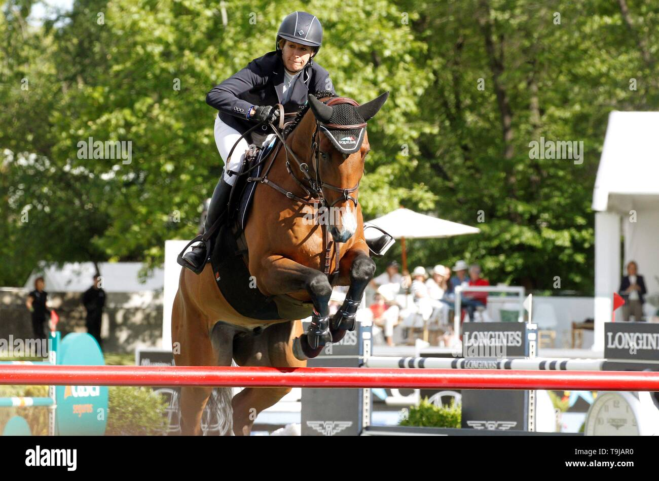 Madrid, Spain. 17th May, 2019. US rider Laura Kraut competes during the final day of the King's Cup trophy trial at the Campo Villa in Madrid, Spain, 19 May 2019. Credit: Víctor Lerena/EFE/Alamy Live News - Stock Image