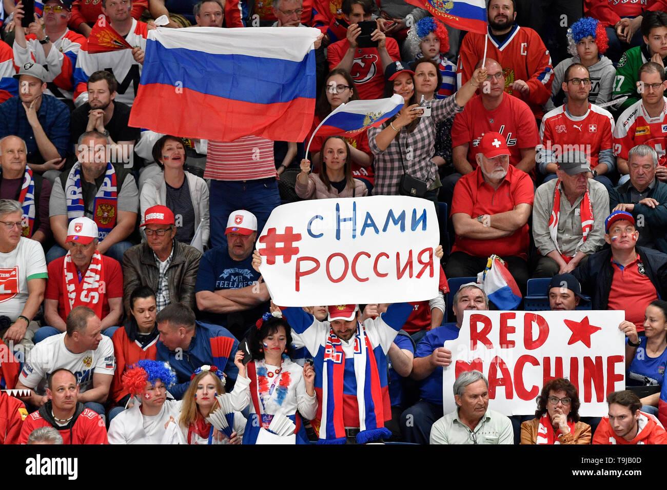 Bratislava, Slovakia. 19th May, 2019. Russian fans during the match between Switzerland and Russia within the 2019 IIHF World Championship in Bratislava, Slovakia, on May 19, 2019. Credit: Vit Simanek/CTK Photo/Alamy Live News Stock Photo