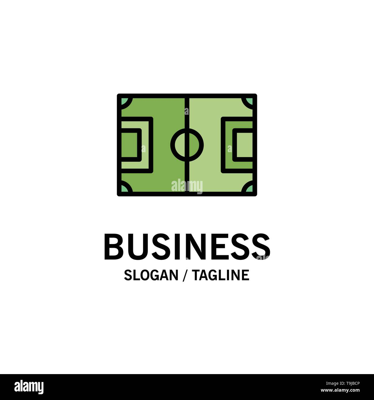 Field, Football, Game, Pitch, Soccer Business Logo Template. Flat Color - Stock Image