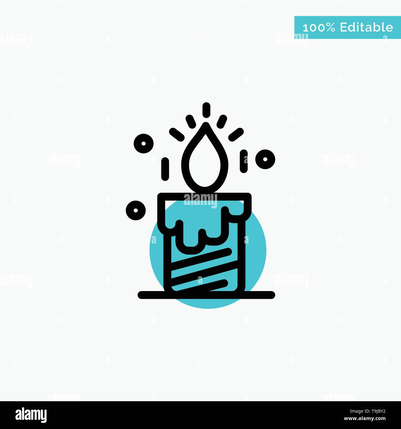 Candle, Light, Wedding, Love turquoise highlight circle point Vector icon - Stock Image