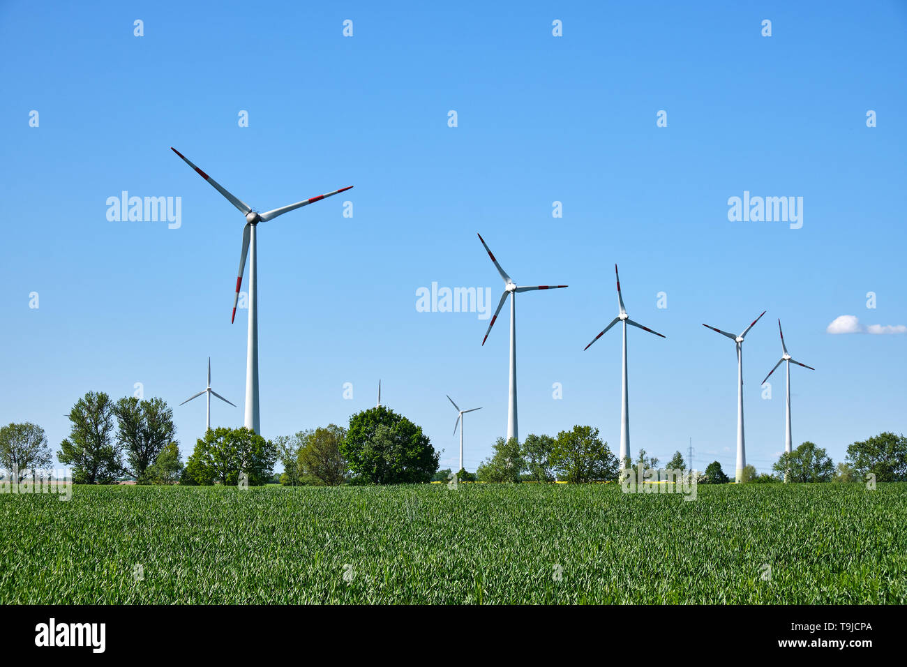 Modern wind wheels seen in a rural area in Germany - Stock Image