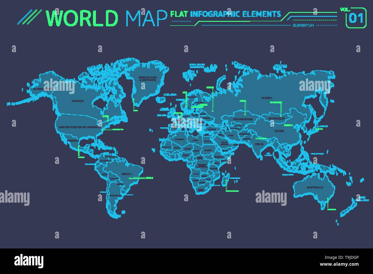 North and South America, Asia, Africa, Europe, Australia and Oceania Vector Maps - Stock Image