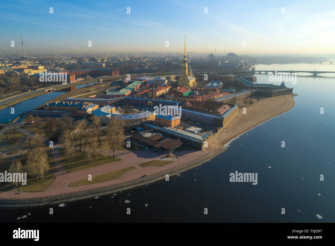 View of the Peter and Paul Fortress on early April morning (aerial photography). Saint-Petersburg, Russia - Stock Image