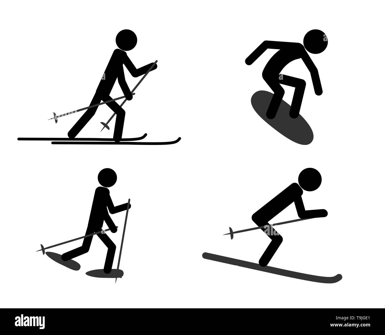 Pictogram of individual sports activities in winter - Stock Image
