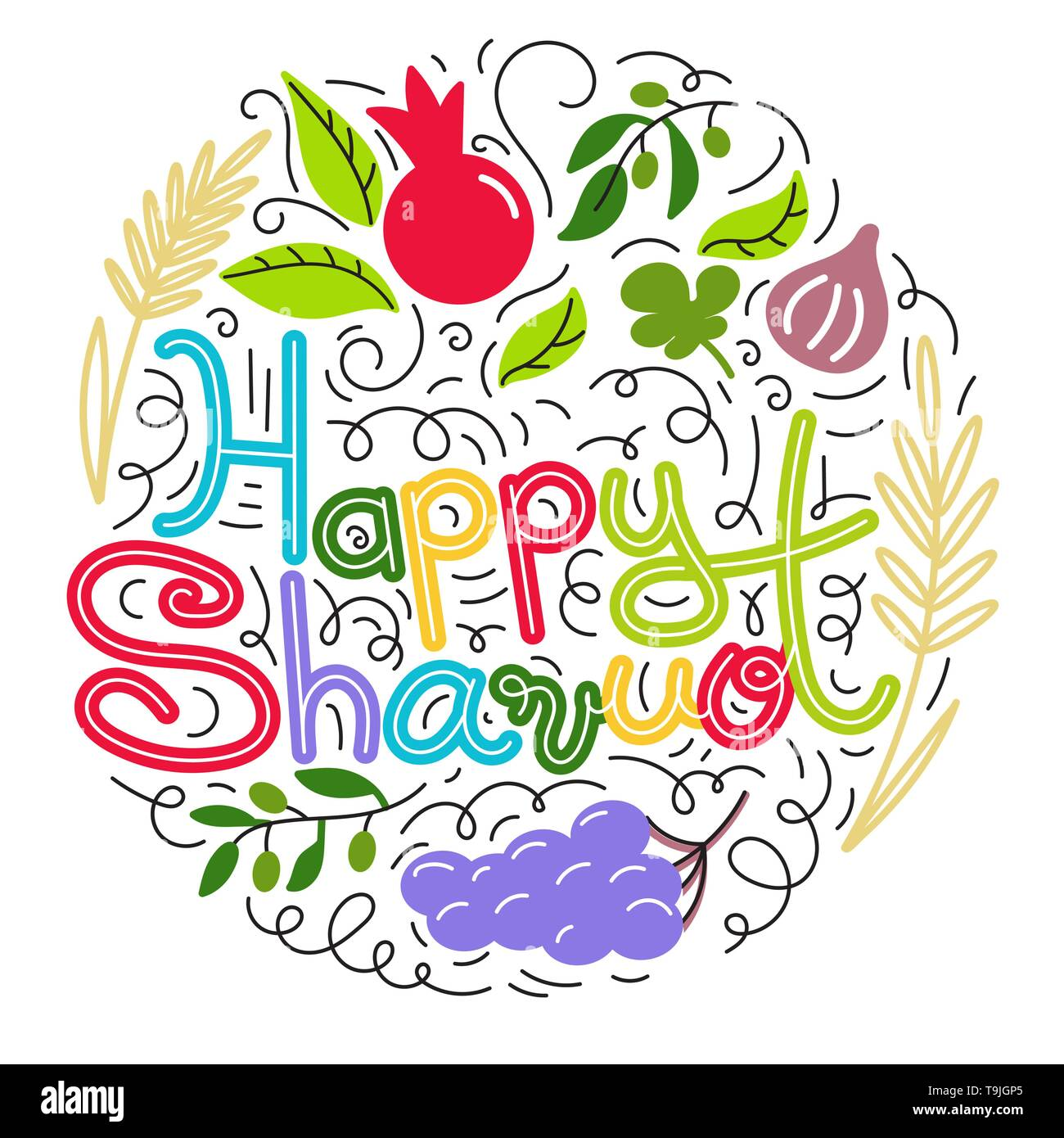 Happy Shavuot. Jewish holiday concept. Hand drawn doodle style. Colorful vector illustration. Isolated on white background - Stock Image